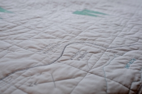 Contour Map Quilt of Whistler & Blackcomb, close up on Village
