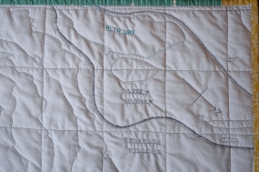 Contour Map Quilt of Whistler & Blackcomb, close up on the Village