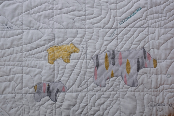 Contour Map Quilt of Whistler & Blackcomb, close up on Bears