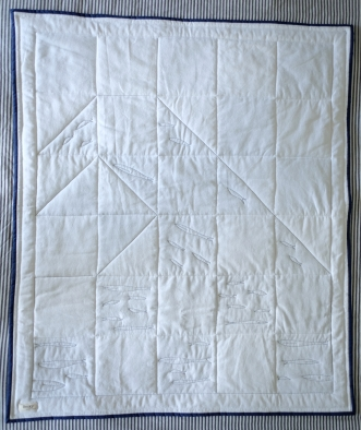 Layla's Whale, wave Quilt, back