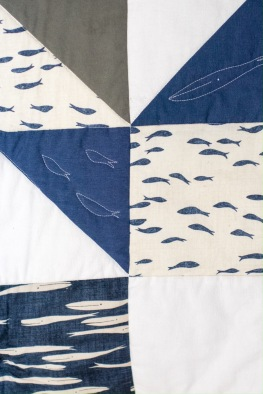 Layla's Whale Quilt, close up on fish