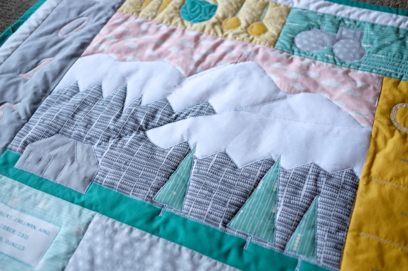 Elias' Farming Pemberton Mountain Quilt, close up of mountains