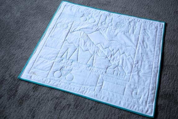 Elias' Farming Pemberton Mountain Quilt, back