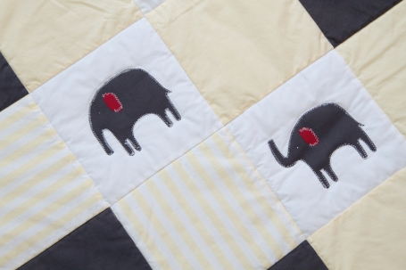 Acelli's Yellow Elephant Quilt, close up of elephants