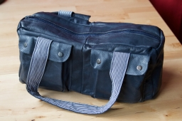 Blue Leather Handbag with pockets and striped lining