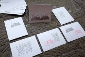 White gift cards, Mountains, Trees & Bikes