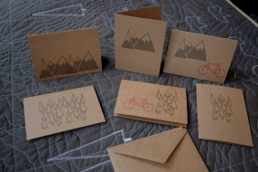 Brown gift cards, Mountains, Trees & Bikes