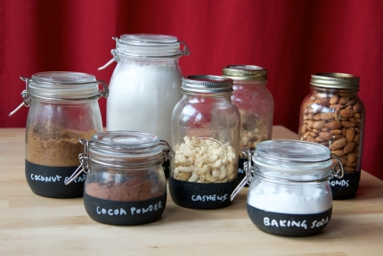 Hand painted chalkboard jars for baking jars
