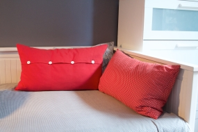 Red cushion covers with Buttons