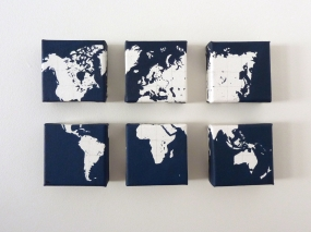 Hand painted world map canvases